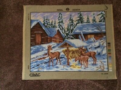 Deer In Snow Tapestry Canvas - Royal Design