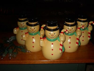 Five Vintage Hard Plastic Snowmen Yard Lights...including stakes and lights