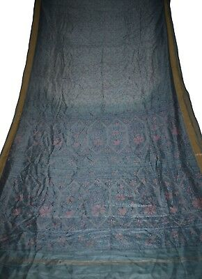 Vintage Printed Saree 100% Pure Silk Fabric Sari Blue Floral Print Design Fabric