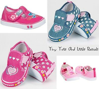 Toddler Girls Infant Canvas Shoes Trainers Pumps Sizes 4 5 6 7 8