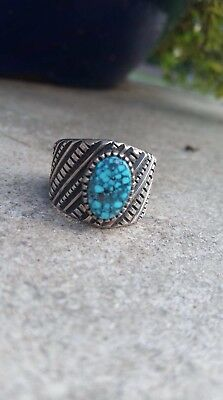 Native American Sterling Silver & Natural Turquoise Ring