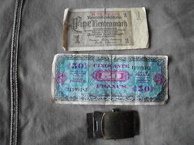 WW2 101st AIRBORNE 506th PARA INF REGT INVASION CURRENCY FRANCE GERMANY & BUCKLE