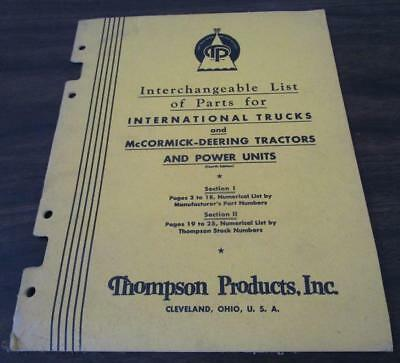 1947 Thompson Products International Trucks McCormick Deering Tractor Catalog M