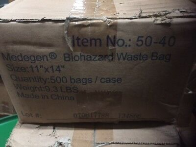 """(Box of 500) Medegen 50-40 Ultra-Tuff Infectious Waste Bags Size 11"""" x 14"""" (NEW)"""