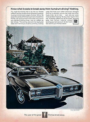 1969 Pontiac  LeMans Hardtop Coupe -Original Magazine Ad-No More Humdrum Driving