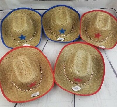 Set of 5 Childrens Kids Cowboy/cowgirl  Straw Hats, blue,Red, Party