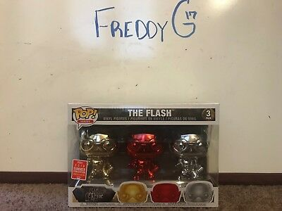 Funko Pop! The Flash- Gold, Red, Silver - Chrome 3-Pack SDCC Exclusive LE