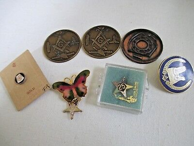VINTAGE 7 ASSORTMENT MASONIC COINS ,PINS ,BUTTERFLY pin,TIE TACKS, MEDALS LOT
