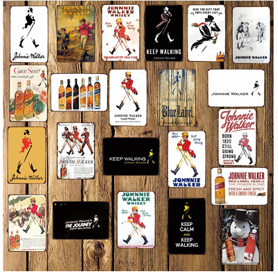Johnnie Walker Whisky Metal Sign Wall Poster Sticker Party Pub Bar Decor