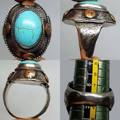 Old Beautiful Persian Turquoise Stone Lovely Ring    # 3c