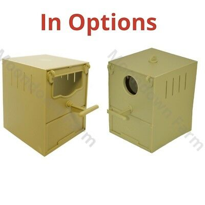 Finch Nest Box IN OPTIONS Plastic For Cage Finches with Hooks front & back