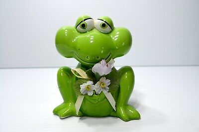 Vintage Ceramic Frog Bank With Flowers Made In Taiwan