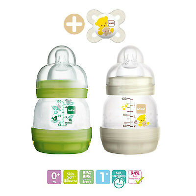 2 x Mam Easy Start Self Sterilising Anti-Colic Bottle, Slow Flow - 130 ml Green