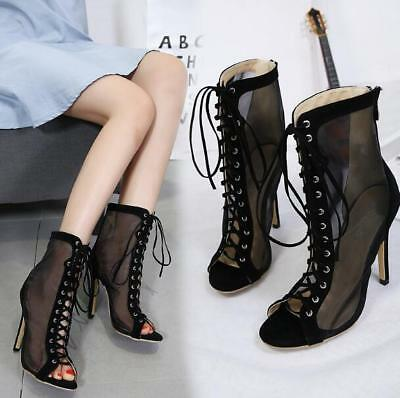 a13d0ae2f9 12CM Womens Peep Toe Sheer Mesh Ankle Boots Stiletto High Heel Lace Up Zip  Zsell
