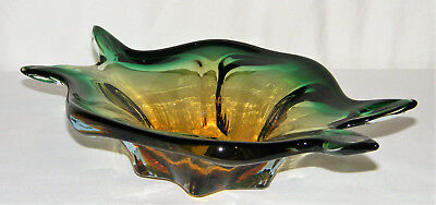 MURANO Hand Blown ~SOMMERSO~ ART GLASS CANDY DISH/BOWL Seguso Glass Co Italy EX!