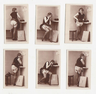 1920/30s near NUDE French Flapper girl 6 PHOTO 's RISQUE Stockings Biederer