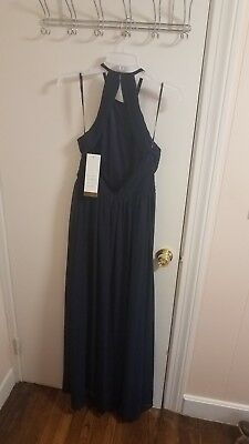 brand new with tags never worn women's long navy blue bill levkoff dress size 6