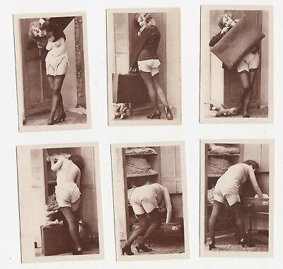 1920/30s NUDE French Flapper girl 6 PHOTO 's Stockings Lingerie Biederer luggage