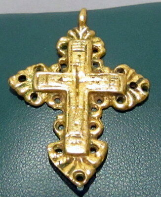 MAGNIFICENT ANTIQUE 1800s.GILT SILVER JEWELRY CROSS PENDANT WITH ENGRAVING # 15A