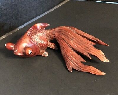"""Wood Fantail Goldfish Hand Carved with Glass Eyes 8"""" Japan"""