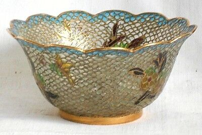 C19Th Chinese Cloisonne Beijing Filigree Transparent Bowl With A Wavy Rim