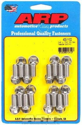 ARP 400-1102 S/S Header Bolts 0.750 UHL 3/8-16 in Thread BBC and Ford