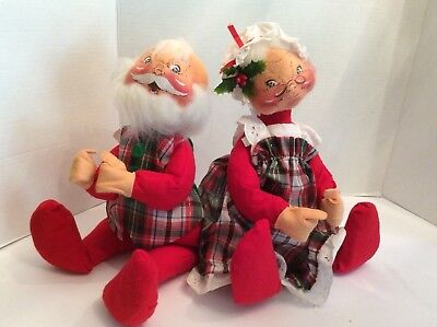 "Annalee Dolls Christmas 12"" Santa and Mrs. Claus 1967-1969"