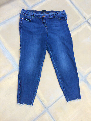 Ladies crop Jeans size 20 plus size Jeans Ripped ends Holidays easy wear Cotton