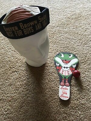 Buster Brown Froggy The Gremlin Cardboard Paddle & Hat Advertising