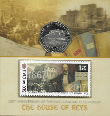 Uncirculated 50p COIN 2017 Isle Of Man House Of Keys Parliament 150 Anniversary