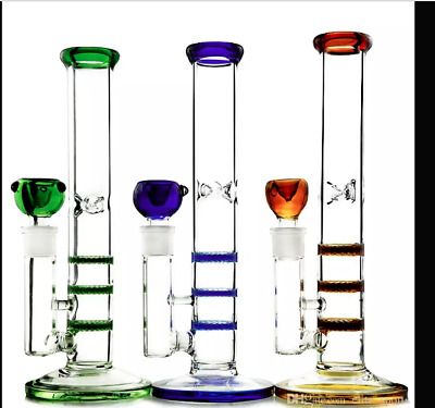 Colorful Straight Tube Glass Bong Triple Layer