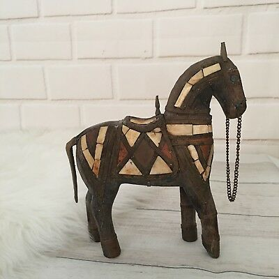 """Vintage Spanish Horse Wooden Porcelain Chain 8"""" Tall"""