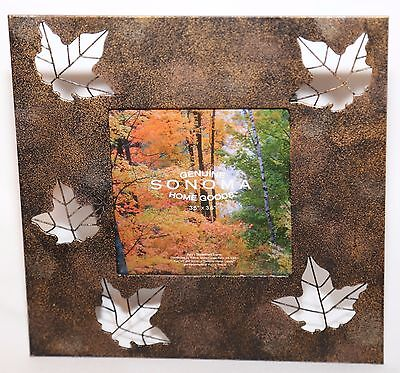 """New Photo Picture Frame Sonoma fits photo 3.5"""" x 3.5"""" Metal Leaves Bronze"""