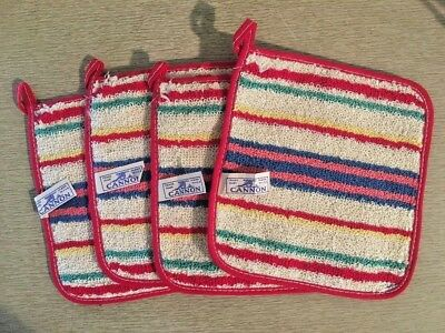 4 Vintage Cannon Potholders, Terrycloth, Red, Blue, Stripe, New Old Stock