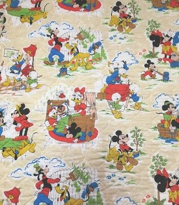 Vintage Walt Disney Productions Bedspread Mickey Mouse Chores Twin Rare!!