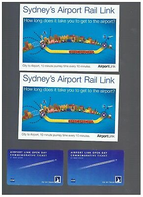 2 Airport Link Open Day Commemorative tickets with 2 Postcards