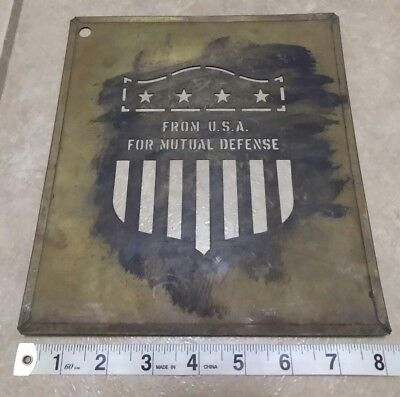 "Brass Crate Stencil - Marshall Plan ""For Mutual Defense"" USA - Post WW2 Vtg"