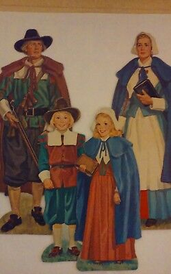 Vtg 1977 Lot (3) Beistle Thanksgiving Pilgrims 2 Sided Paper Cutouts Decorations