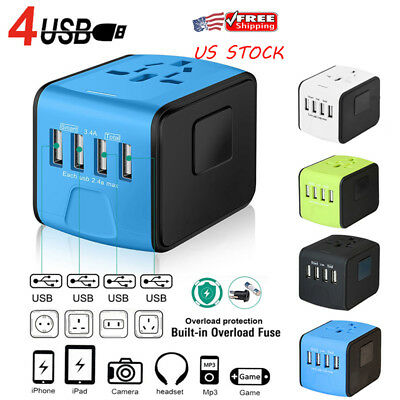 4 USB Universal Travel Adapter Worldwide Power Converter International Converter