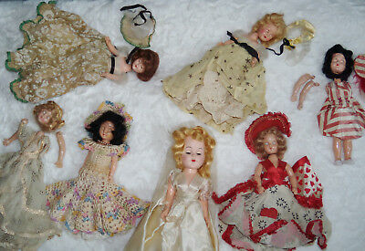 1940s CHARACTER DOLL LOT / PARTS -- WITH BONUS BRIDE!