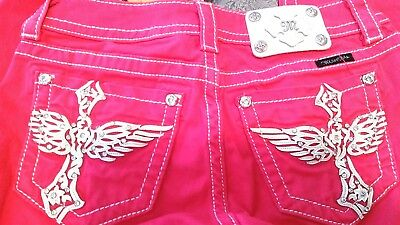 MISS ME SKINNY SZ 27 BRIGHT PINK WOMEN'S JUNIORS JEANS cotton WHITE WINGS  & TAB
