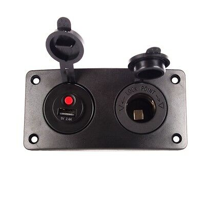 Car USB Charger With  Switch ON-OFF + Power Outlet Socket Two Hole Arc Panel