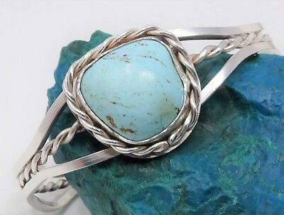 Navajo Old Pawn, Dry Creek Turquoise, Sterling Silver Rope Design Cuff Bracelet