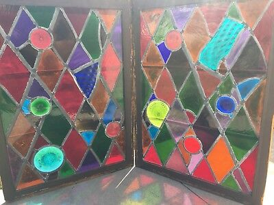 Magnificent Antique Pair Of Stained Glass Windows