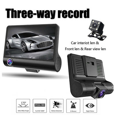 4 Inch HD 1080P 3 Lens Car DVR Dash Cam Truck Car Video Recorder Rearview Camera