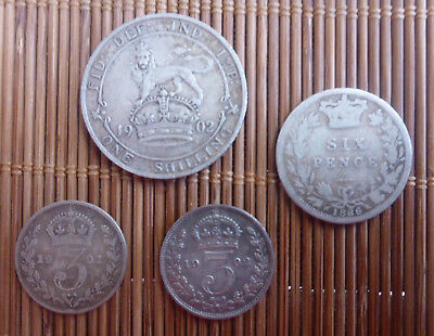 Great Britain - 1886 Six 6 Pence, 1902 One 1 Shilling, 1901 & 1902 Three 3 Pence