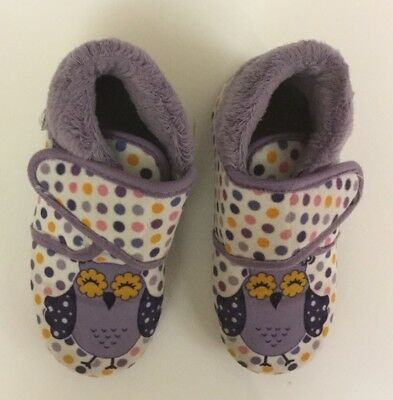 Girls Winter Slippers - Purple With Owl - Size 26