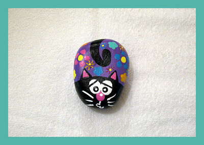 Hand painted FLOWER POWER CAT River Rock One Of A Kind Stone Art WHIMSICAL Kitty