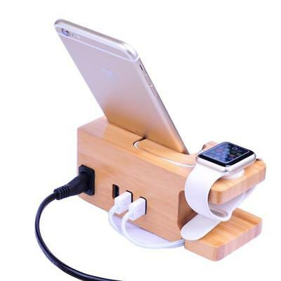 Wooden Charging Stand 3 Port With Watch 5v 3a Usb Wood Phone Charging Stand Dock