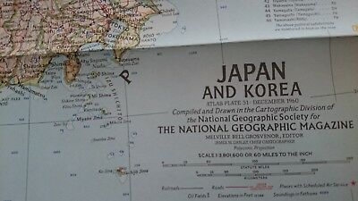 Vintage National Geographic 1960 Map of Japan & Korea-Atlas Plate 51